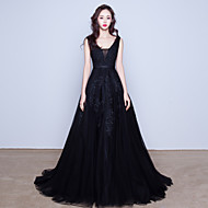 Cocktail Party / Formal Evening Dress - Black V-neck Sweep/Brush Train Tulle