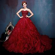 Vestido de noite formal - vestido de bola inspirado vintage querida capela trem rendas tule charmeuse withbeading ruffles sash /