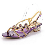 Women's Shoes Leather Chunky Heel Mary Jane Sandals Party & Evening / Dress / Casual Black / Purple / Gold