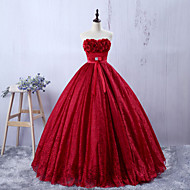 Formal Evening Dress - Burgundy A-line Sweetheart Floor-length Lace