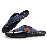 Men's Shoes Casual Denim Flip-Flops Black / Blue