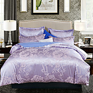 Floral Faux Silk 4 Piece Duvet Cover Sets