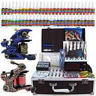 Solong Tattoo® Complete Tattoo Kit 2 Pro Machine Guns 54 Inks Power Supply Foot Pedal Needles Grips Tips TK221