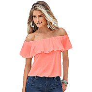 Women's Casual/Daily Sexy Summer T-shirt,Solid Boat Neck Short Sleeve Pink / White Cotton Thin