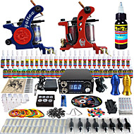 Solong Tattoo Complete Beginner Tattoo Kit 2 Pro Machines 54 Inks Power Supply Needle Grips Tips TKB15