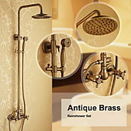 Antique Brass Wall Mounted Two Handle Rain Shower Faucet Set with 8 Inch Shower Head and Hand Shower