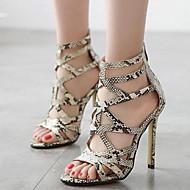 Women's Shoes Leatherette Stiletto Heel Open Toe Sandals Party & Evening / Dress Gray