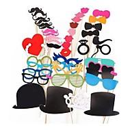 44 pcs de papel cartão com foto cabine adereços divertido favor de partido (óculos& chapéu& bigode& chapéu)