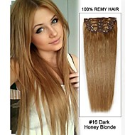 "20""7pcs #16 Dark Honey Blonde Straight Clip in Remy Human Hair Extensions"