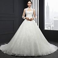 A-라인 웨딩 드레스 채플 트레인 하이 넥 레이스 와 비즈