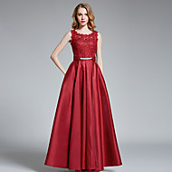 Prom / Formal Evening Dress A-line Jewel Floor-length Satin with Beading / Lace / Pockets