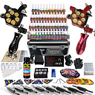 Solong Tattoo® Complete Tattoo Kit 2 Pro Machines 54 Inks Power Supply Foot Pedal Needles Grips Tips TK253