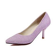 Feminino-Saltos-Sapatos clube-Salto Agulha-Azul Roxo Prateado-Couro Ecológico-Casamento Escritório & Trabalho Social
