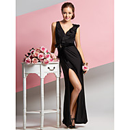 TS Couture® Formal Evening Dress - Black Sheath/Column V-neck Ankle-length Chiffon / Velvet / Jersey