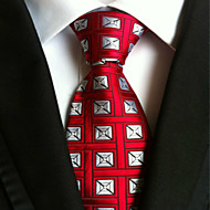 Hrášek - Kravata ( Červená / Stříbrná , Polyester )
