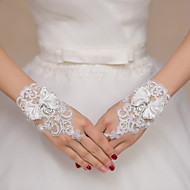 Wrist Length Fingerless Glove Lace Bridal Gloves Party/ Evening Gloves Embroidery Bow Rhinestone