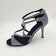 Obyčejné-Dámské-Taneční boty-Latina-Satén-Vysoký úzký-Šedá