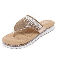 Sandály-Syntetika-Platformy / S páskem-Dámská obuv-Stříbrná / Zlatá-Šaty-Plochá podrážka