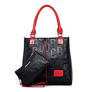 Women PU Shopper Tote-Black