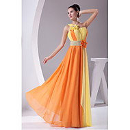 Formal Evening Dress Sheath / Column One Shoulder Floor-length Chiffon with Draping / Flower(s)