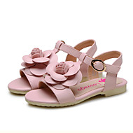 Para Meninas-Sandálias-Conforto Menina Flor Shoes-Rasteiro-Rosa Azul Claro-Courino-Casamento Ar-Livre Social Casual Festas & Noite