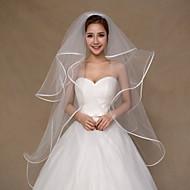 Wedding Veil Four-tier Fingertip Veils Ribbon Edge Tulle Ivory