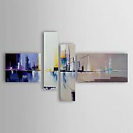 Pintada a mano Abstracto / Paisajes AbstractosModern Tres Paneles Lienzos Pintura al óleo pintada a colgar For Decoración hogareña
