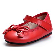 Girl's Flats Spring / Summer / Fall Mary Jane Leather Dress / Casual Bowknot / Magic Tape Black / Red / Black and White