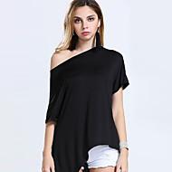 Vrouwen Sexy / Vintage Zomer T-shirt,Casual/Dagelijks Effen Ronde hals Korte mouw Rood / Wit / Zwart / Bruin Acryl / Nylon Ondoorzichtig