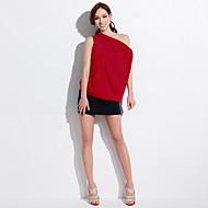Mulheres Camiseta Casual Sensual / Fofo Todas as Estações,Sólido Vermelho / Cinza / Laranja Poliéster / Elastano Decote Canoa Manga Curta