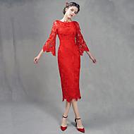 Cocktail Party Dress Sheath / Column Jewel Tea-length Lace with Lace