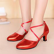 Scarpe da ballo-Non personalizzabile-Da donna-Balli latino-americani-Quadrato-Finta pelle-Nero / Blu / Rosso