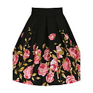 Women's Floral Black Skirts,Vintage Knee-length