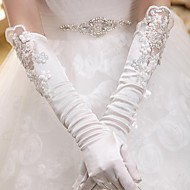 Elbow Length Fingertips Glove Elastic Satin Bridal Gloves / Party/ Evening Gloves Spring / Summer / Fall / Winter Sequins / lace
