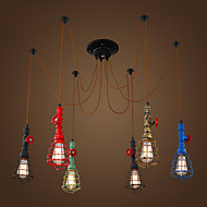 6 Lights Vintage Pendant Lights/E26/E27 Max 60W/Waterpipe Design/ Coffee Bar/Restaurant Lights