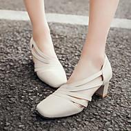 Women's Shoes Heel Heels / Square Toe Sandals / Heels Office & Career / Dress / Casual Black / Red / Almond / Beige/7438