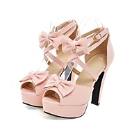 Women's Spring / Summer / Fall Heels / Peep Toe Leatherette Outdoor / Dress / Casual Chunky Heel Bowknot Black / Pink / Purple / Beige