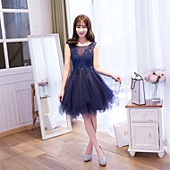 Cocktail Party Dress-Burgundy / Lavender / Pearl Pink / Silver / Ink Blue A-line Scoop Knee-length Lace / Tulle