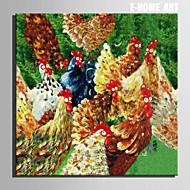 taille mini peinture à l'huile e-maison poulets modernes main pure dessiner la peinture décorative frameless