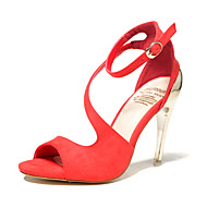 Women's Shoes Suede Stiletto Heel Heels / Pointed Toe / Open Toe Sandals Dress Black / Red