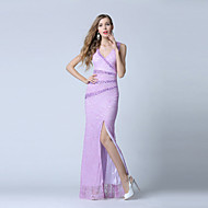 Formal Evening Dress Trumpet / Mermaid V-neck Ankle-length Lace / Tulle with Beading / Crystal Detailing / Lace / Split Front
