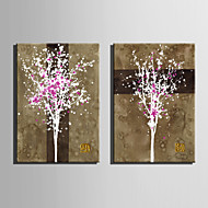 Mini Size E-HOME Oil painting Modern A Tree Full Of Pink Pure Hand Draw Frameless Decorative Painting