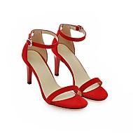 Черный / Красный / Бежевый-Женская обувь-Для прогулок / Для праздника / На каждый день-Дерматин-На шпильке-На каблуках / С открытым носком