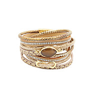 leather Charm BraceletsFashion Trendy 4 Rows Natural Stone Beads/Crystal Set /Infinity Decorated Leather Wrap Bracelet
