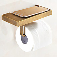 Bathroom Wall Mounted Soild Brass Antique Brass Toilet Paper Holder Mobile Phone Holder Tissue Box Shelf