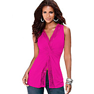 Women's Going out Sexy / Simple Blouse,Solid V Neck Sleeveless Blue / Pink / Black / Purple Polyester Thin