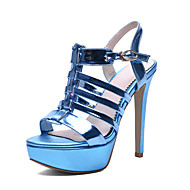 Women's Summer Heels / Comfort / Open Toe Patent Leather Dress / Casual Stiletto Heel Sequin Blue / Red