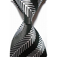 New Striped White Black JACQUARD WOVEN Men's Tie Necktie #3016