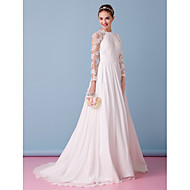 Lanting Bride A-line Wedding Dress-Sweep/Brush Train Jewel Chiffon / Lace