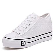 Sko-Lerret-Flat hæl-Komfort-Trendy sneakers-Friluft / Formell / Fritid-Svart / Hvit